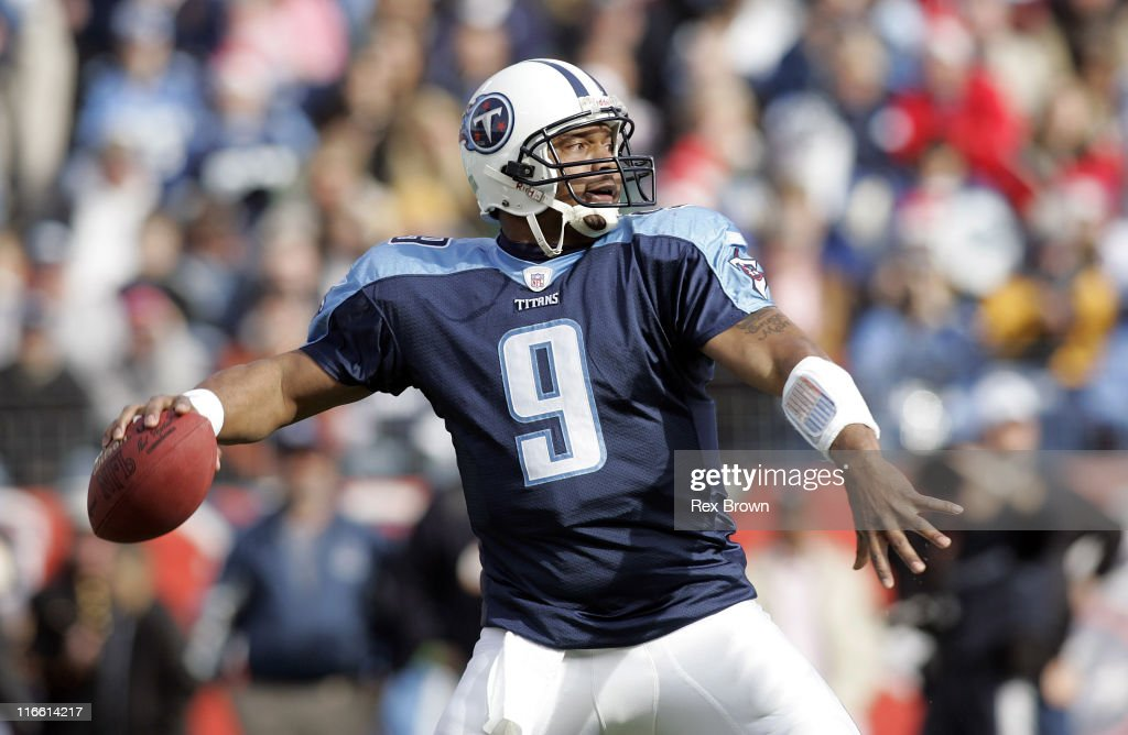 Tennesse's Steve McNair drops back to pass against Seattle December 18 at the Coliseum in Nashville Tennessee