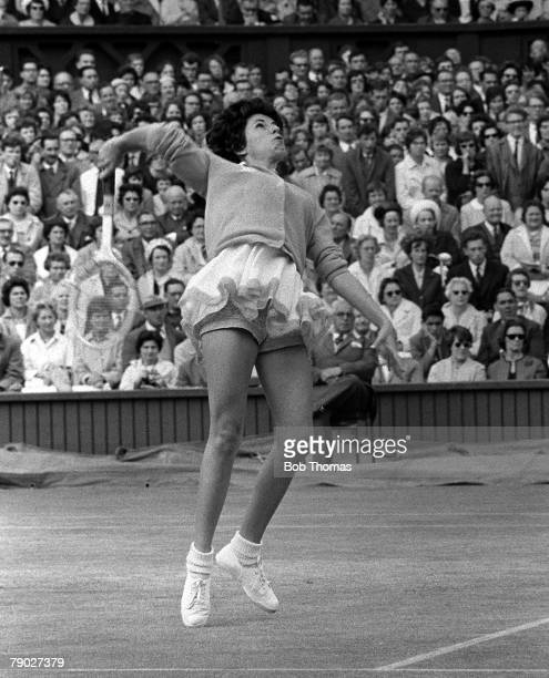 Tennis 1962 Wimbledon All England Tennis Championships Ladies Singles Brazil's Maria Bueno warming up before the match