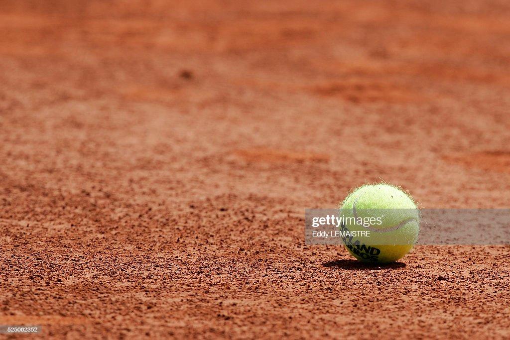 Tennis 2005 - Roland Garros French Open. Ball on clay court at Roland Garros.
