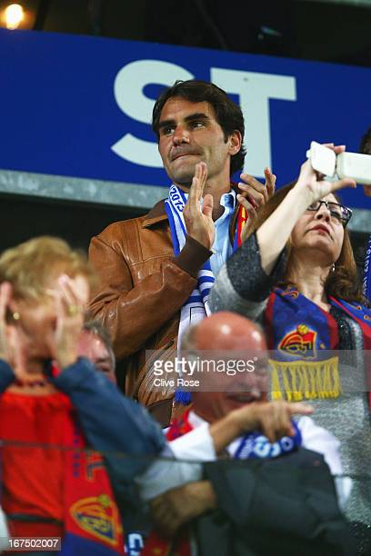 Tennis ace Roger Federer watches from the grandstand during the UEFA Europa League Semi Final First Leg match between FC Basel 1893 and Chelsea at St...