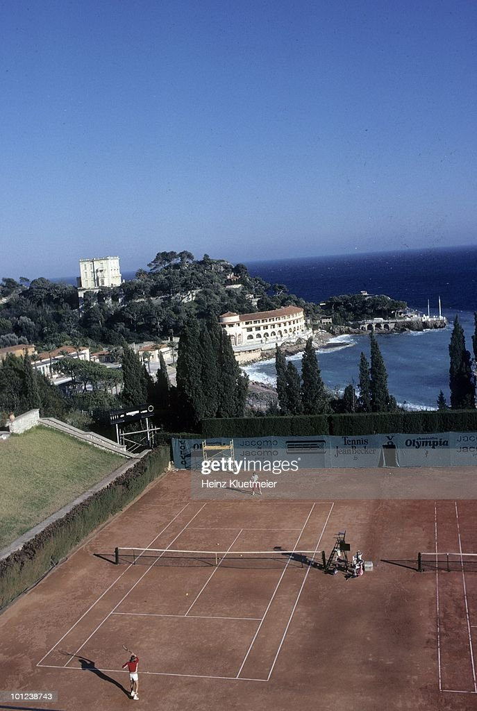 Aerial view of Sweden Bjorn Borg in action during practice. Monte Carlo, Monaco 3/1/1980--3/31/1980