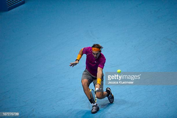 ATP World Tour Finals Spain Rafael Nadal in action vs Great Britain Andy Murray during the men's singles matches at O2 Arena London UK CREDIT Jessica...