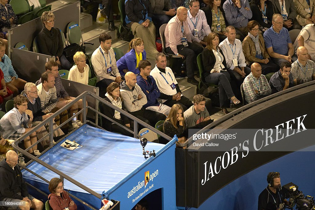 Former pro Ivan Lendl, coach for Great Britain Andy Murray, in stands during Men's Final vs Serbia Novak Djokovic at Melbourne Park. David Callow F63 )