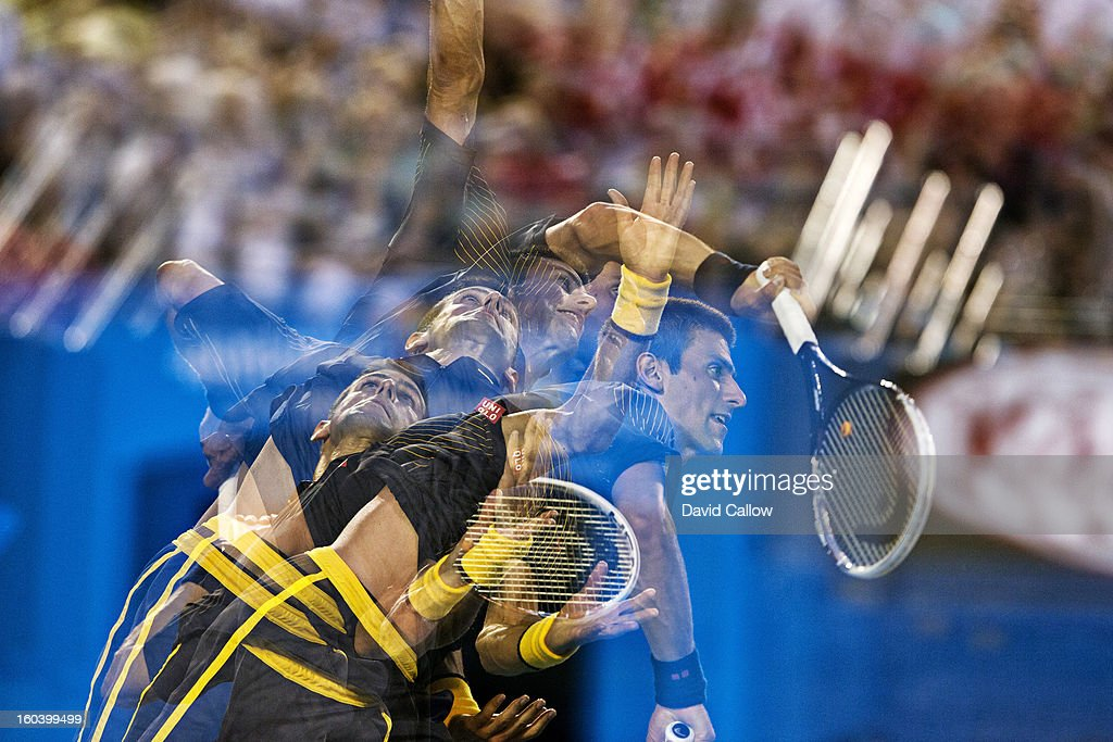 Multiple exposure of Serbia Novak Djokovic in action, serve to Spain David Ferrer during Men's Semifinals at Melbourne Park. David Callow F1 )