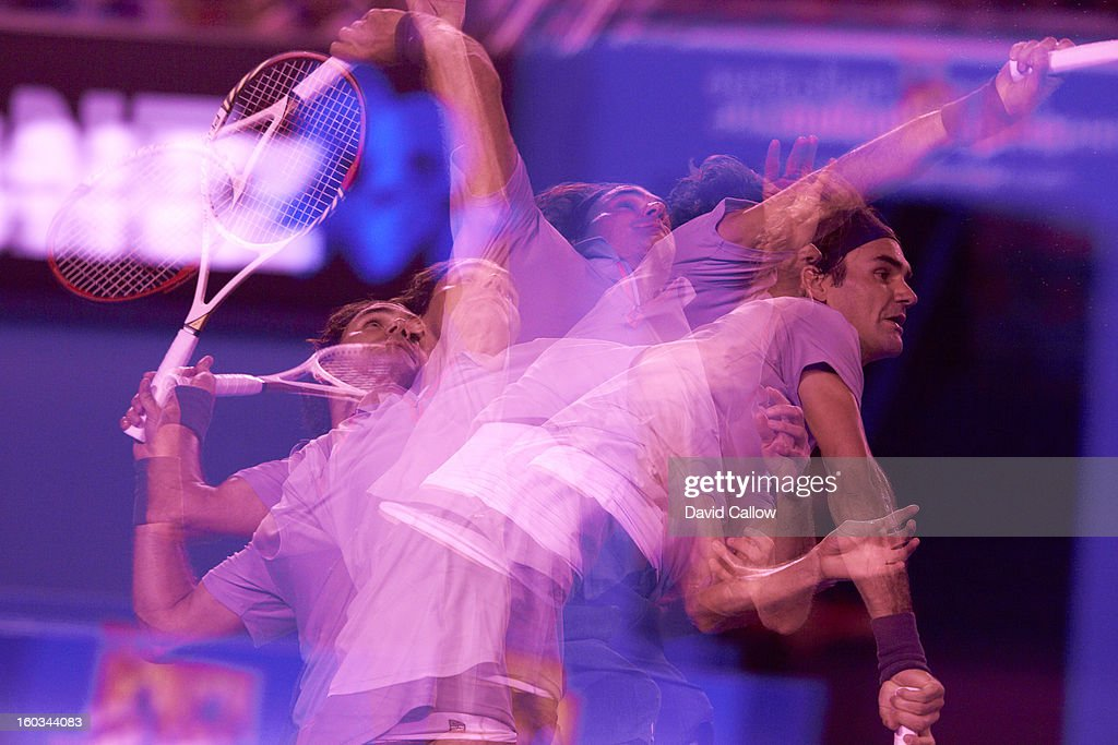 Multiple exposure view of Switzerland Roger Federer in action, serve during match at Melbourne Park. Melbourne, Australia 1/21/2013 -- 1/27/2013 David Callow F1 )