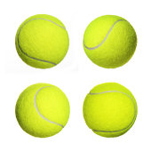Tennis Ball Collection isolated on white background. Closeup