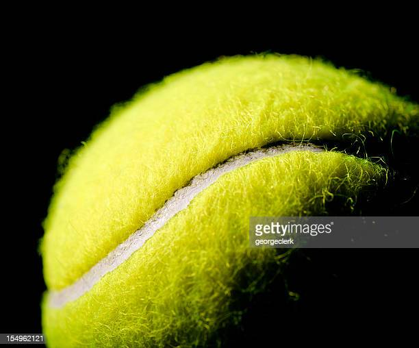 Tennis Ball Macro on Black Background