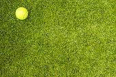 Tennis ball on green grass. Concept