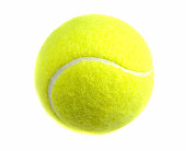 A new tennis ball isolated on white.Focus on front of ball.