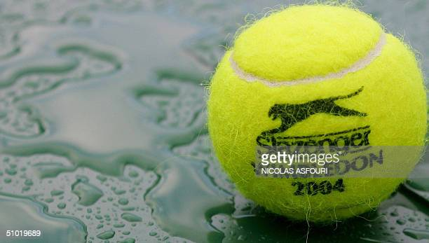 A tennis ball soaks in the rain as the semifinal round match between Sebastien Grosjean of France and Roger Federer of Switzerland continues to be...