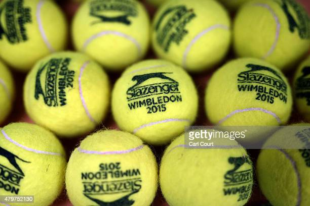 Tennis balls are pictured in a store room ahead of play on day 8 of the Wimbledon Lawn Tennis Championships at the All England Lawn Tennis and...