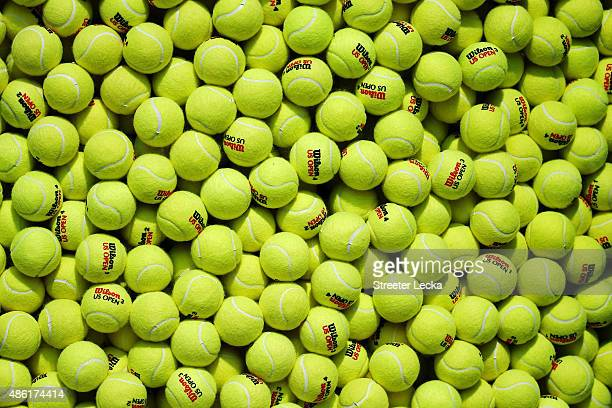 Tennis balls are seen on Day Two of the 2015 US Open at the USTA Billie Jean King National Tennis Center on September 1 2015 in the Flushing...