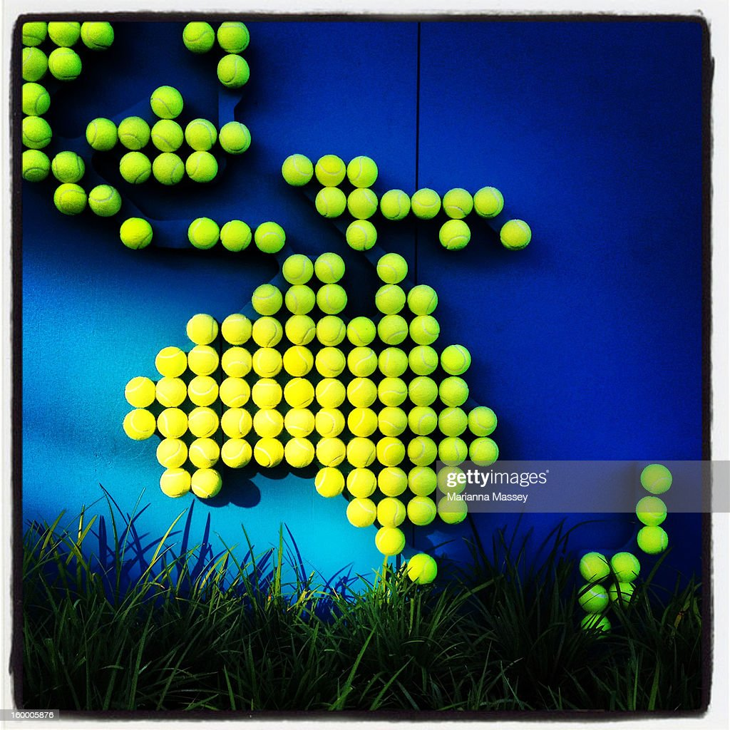 Tennis balls in the shape of Australia are on display at the ANZ Marquee on day seven of the 2013 Australian Open at Melbourne Park on January 20, 2013 in Melbourne, Australia.
