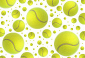 Tennis balls rain close up image