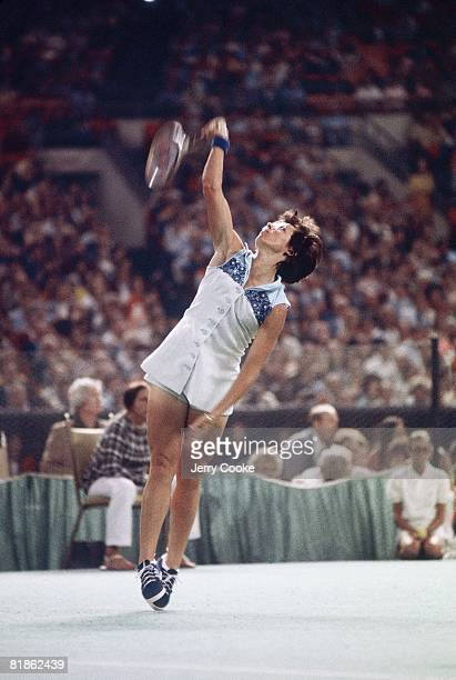 Tennis Battle of Sexes Billie Jean King in action vs Bobby Riggs at Astrodome Houston TX 9/20/1973