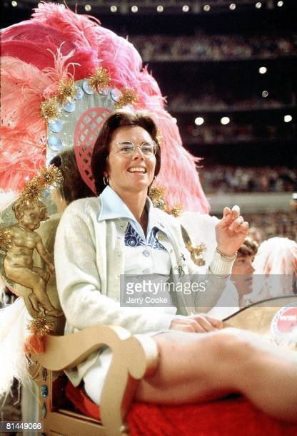 Tennis Battle of Sexes Closeup of Billie Jean King on throne before match vs Bobby Riggs at Astrodome Houston TX 9/20/1973