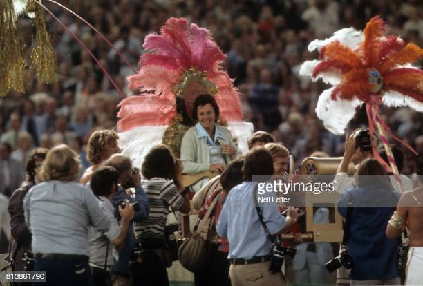 Battle of the Sexes II Billie Jean King arriving on court via float before match vs Bobby Riggs at Astrodome Houston TX CREDIT Neil Leifer