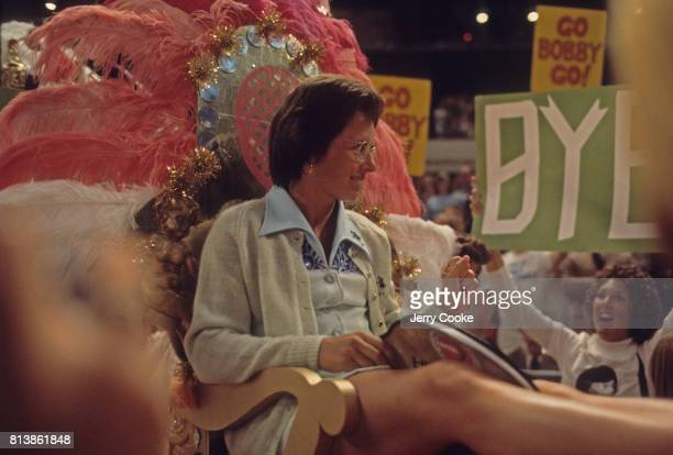 Battle of the Sexes II Billie Jean King arriving on court via float before match vs Bobby Riggs at Astrodome Houston TX CREDIT Jerry Cooke