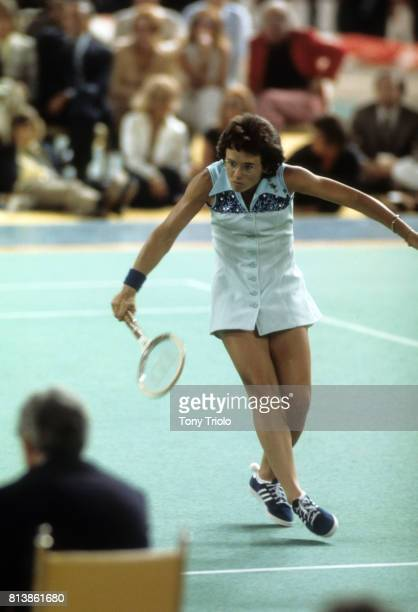 Battle of the Sexes II Billie Jean King in action during match vs Bobby Riggs at Astrodome Houston TX CREDIT Tony Triolo