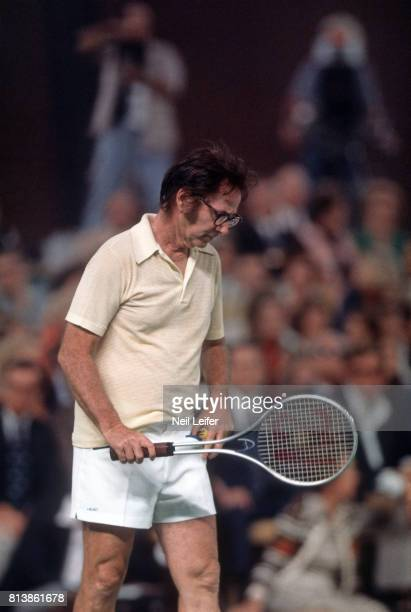 Battle of the Sexes II Bobby Riggs in action vs Billie Jean King during match at Astrodome Houston TX CREDIT Neil Leifer