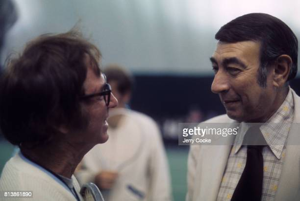 Battle of the Sexes II Bobby Riggs speaks to journalist Howard Cosell before match vs Billie Jean King at the Astrodome Houston TX CREDIT Jerry Cooke