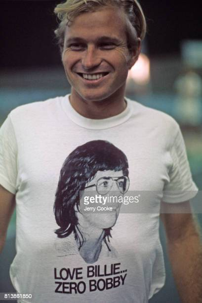 Battle of the Sexes II Portrait of fan wearing Billie Jean King shirt before match vs Bobby Riggs at Astrodome Houston TX CREDIT Jerry Cooke