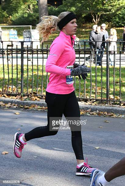 Tennis champion Caroline Wozniacki of Denmark runs the 2014 New York City Marathon in Central Park on November 2 2014 in New York City She finished...