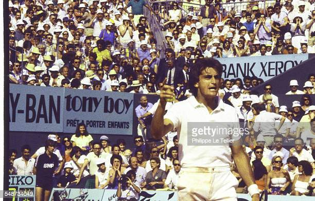 Tennis Champion Henri Leconte At Roland Garros Tournament Paris June 1985