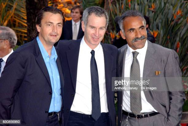 Tennis champion John McEnroe and friends Henri Leconte and Mansour Bahrami arrive for the Laureus World Sports Charity Dinner at the Forum Grimaldi...