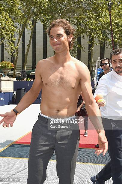 Tennis champion Rafael Nadal attends the Tommy Hilfiger And Rafael Nadal Launch Global Brand Ambassadorship at Bryant Park on August 25 2015 in New...