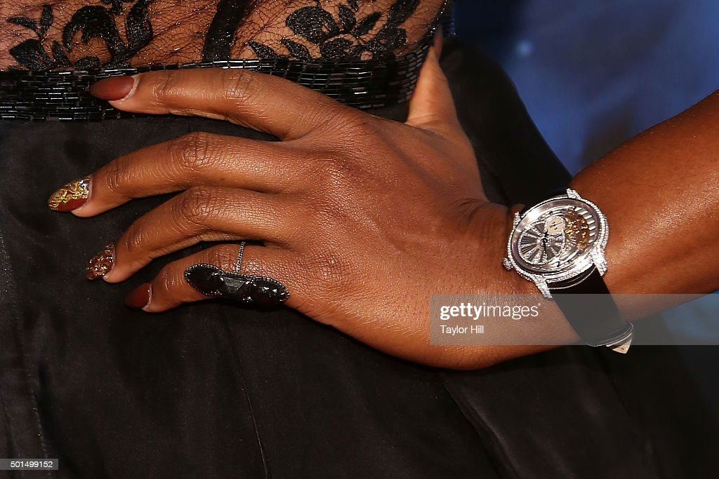 Tennis champion Serena Williams watch detail manicure detail ring detail attends the 2015 Sports Illustrated Sportsperson Of The Year Ceremony at...