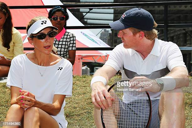 Tennis champions Monica Seles and Jim Courier at the kickoff event for 'HSBC Serves Up the Perfect Day at Wimbledon' on June 25 2013 in New York City