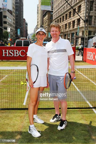 Tennis champions Monica Seles and Jim Courier pose at the kickoff event for 'HSBC Serves Up the Perfect Day at Wimbledon' on June 25 2013 in New York...