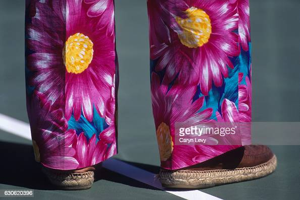 Closeup of colorful pants of television announcer and media personality Bud Collins during tournament at Indian Wells Tennis Garden Indian Wells CA...