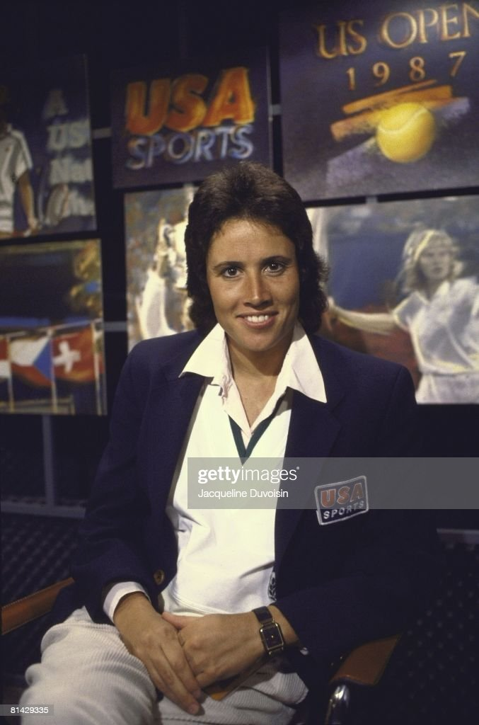 Tennis Closeup portrait of USA Network announcer Mary Carillo in studio media Flushing NY 9/4/1987