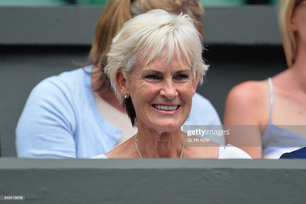 Tennis coach Judy Murray, mother of Britain's Andy Murray, takes her seat to watch her son play against Britain's Liam Broady during their men's singles first round match on the second day of the 2016 Wimbledon Championships at The All England Lawn Tennis Club in Wimbledon, southwest London, on June 28, 2016. / AFP / GLYN