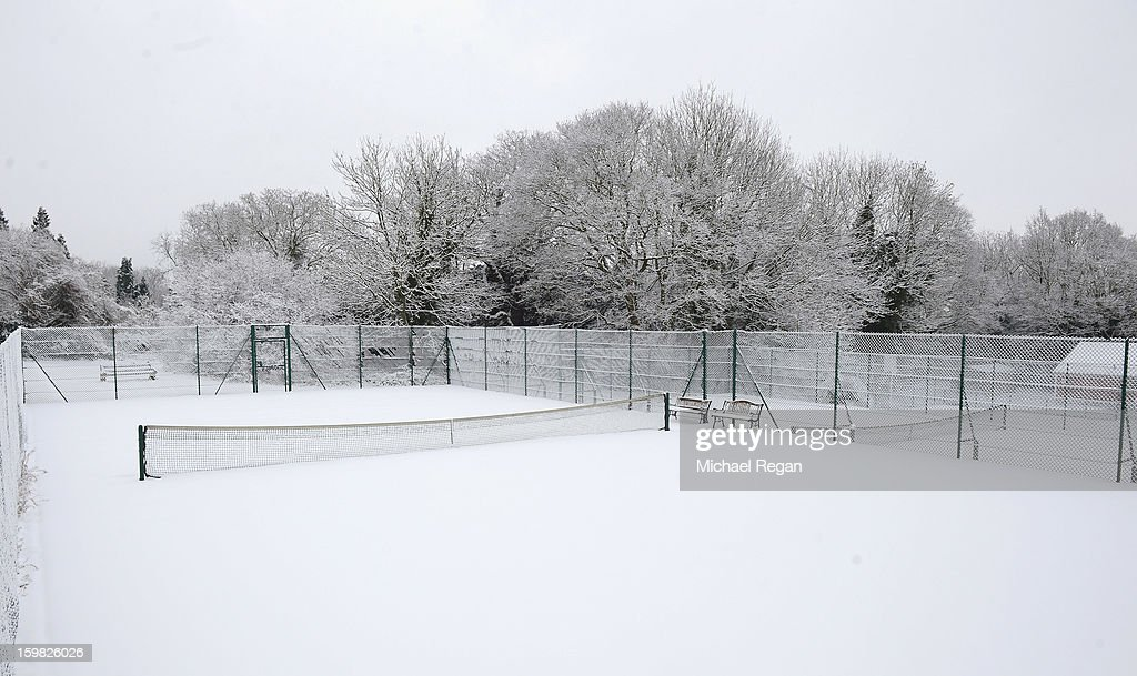 A tennis court covered in snow in Woodhouse Eaves on January 21, 2013 in Leicestershire, United Kingdom. As the UK's cold snap continues, parts of the country including the South West and Wales were bracing themselves for even more snow, forecast to arrive tonight and tomorrow.