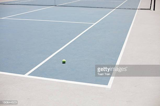 Tennis court with tennis ball