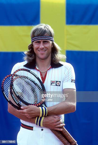 Davis Cup Closeup of Sweden Bjorn Borg posing in front of his national flag before Zone A Semifinals match vs West Germany at Bastad Tennis Stadium...