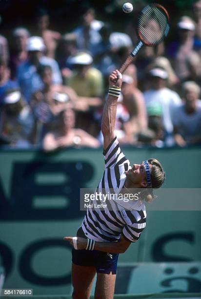 Davis Cup Sweden Bjorn Borg serving during Zone A Semifinals match vs West Germany at Bastad Tennis Stadium Bastad Sweden 6/11/1980 6/13/980 CREDIT...