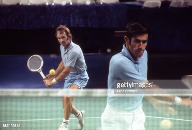 Double exposure of Australia Rod Laver and Ken Rosewall in action during tournament at Moody Coliseum Dallas TX CREDIT Lane Stewart