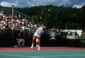 English Leather Tennis Grand Prix USA Jimmy Connors in action serve during match at Topnotch at Stowe Resort on Mount MansfieldStowe VT...