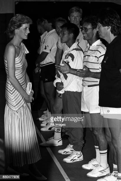 Tennis fan the Princess of Wales meets star players at the Foster's Classic charity match in aid of the British Deaf Association of which she is...