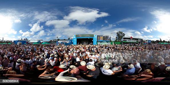 Tennis fans enjoy 'Heineken Day' as Hot Dub Time Machine perform at Grand Slam Oval during day six of the 2016 Australian Open at Melbourne Park on...