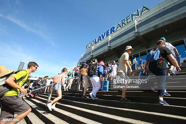 Tennis fans enter Rod Laver Arena during day one of the 2016 Australian Open at Melbourne Park on January 18 2016 in Melbourne Australia
