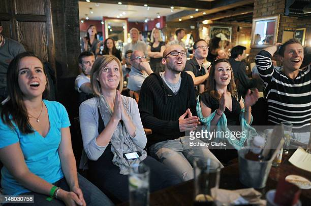 Tennis fans gather in the Alexandra pub Wimbledon to watch Andy Murray take on Roger Federer in the Wimbledon Gentlemen's Final on July 8 2012 in...