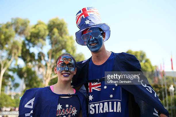 Tennis fans show their support on Australia Day during day nine of the 2016 Australian Open at Melbourne Park on January 26 2016 in Melbourne...