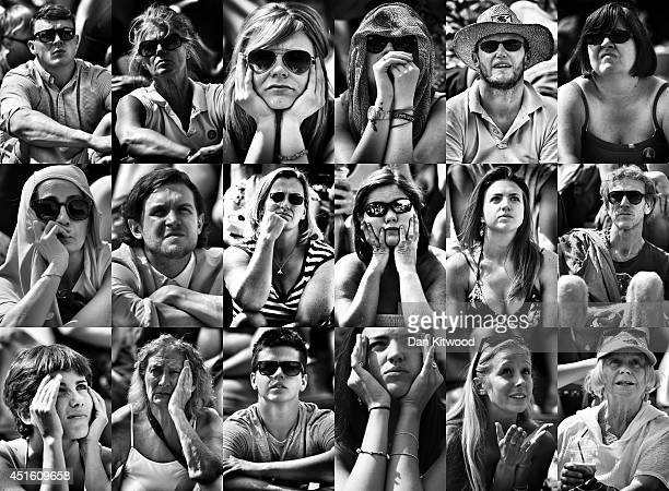Tennis fans watch Britain's Andy Murray lose his Gentlemen's Singles quarterfinal match against Grigor Dimitrov of Bulgaria during the last game on...