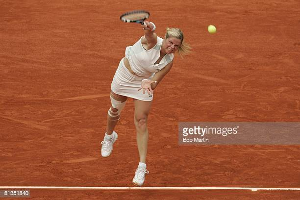 Tennis French Open BEL Kim Clijsters in action during serve vs SVK Ludmila Cervanova at Roland Garros Paris FRA 5/25/2005