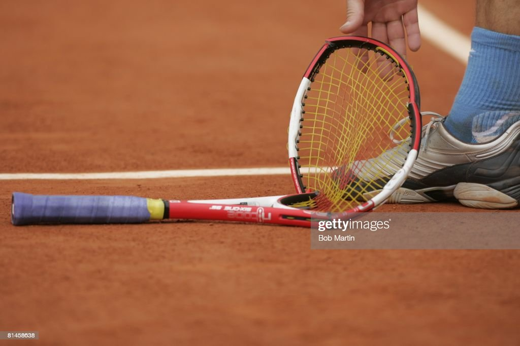 French Open, Closeup of racket, equipment of ARG Gaston Gaudio after breaking it during match vs ESP David Ferrer at Roland Garros, Paris, FRA 5/31/2005